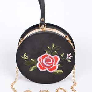 Velvet Embroidered Circle Clutch